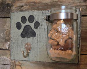 Dog Treats on a Mason Jar Hanging Next to Dog Leash Wall Hook   Diamond Pet Foods