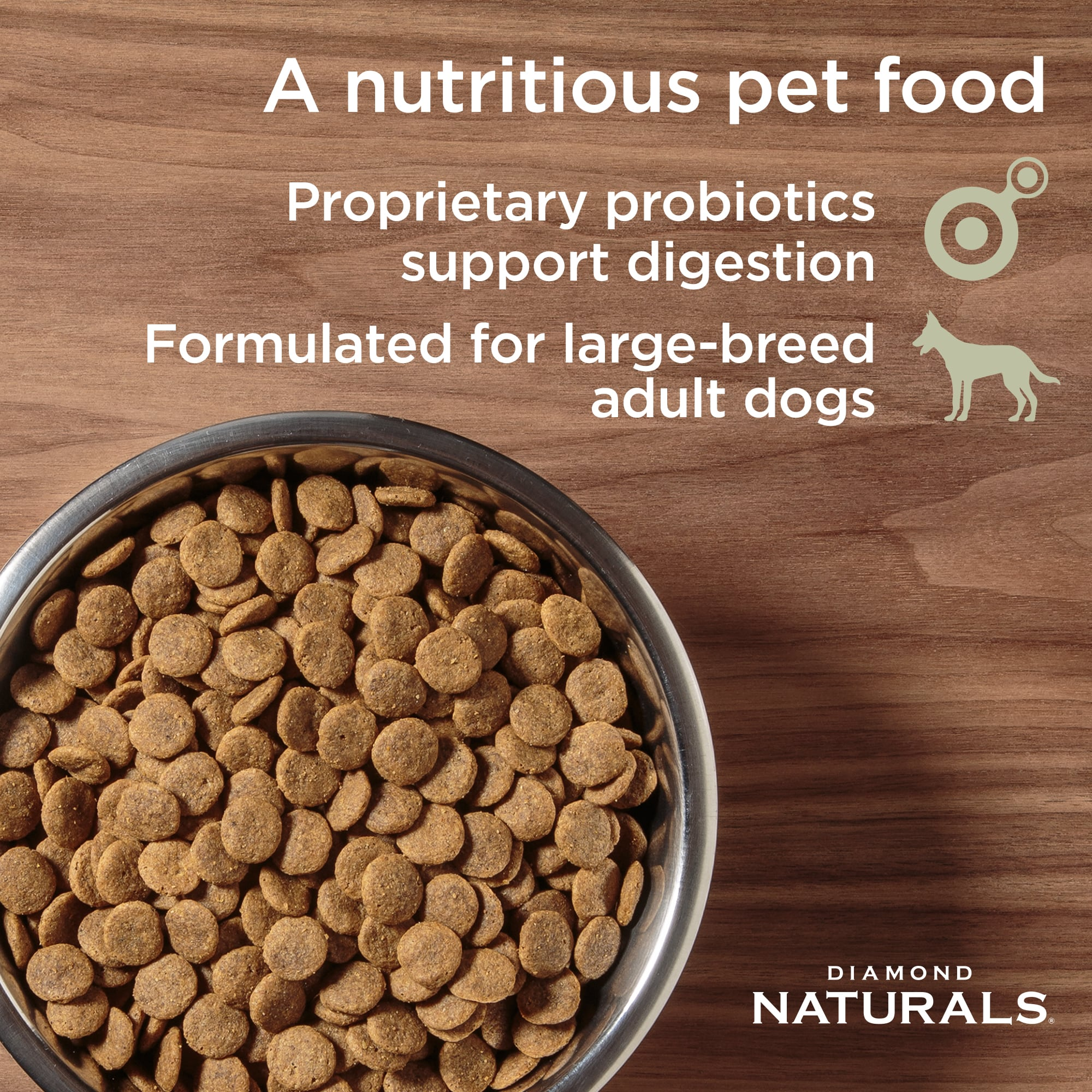 Diamond Naturals large breed kibble in a metal bowl | Diamond Pet Foods