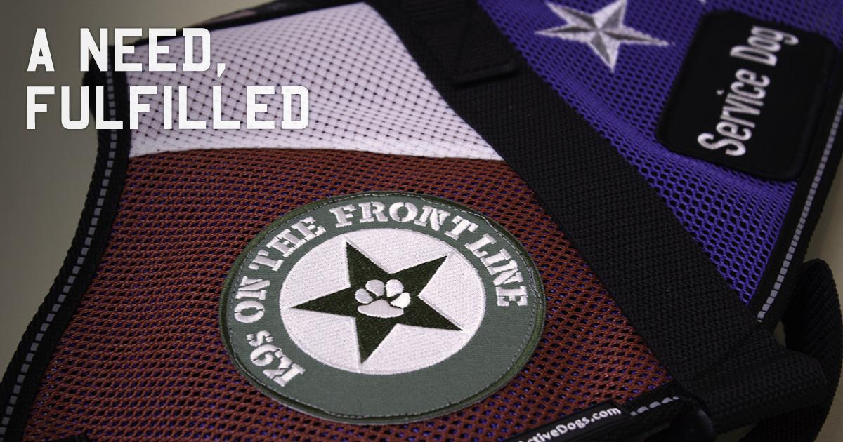K9s on the Front Line Patch on a Service Dog Vest | Diamond Pet Foods