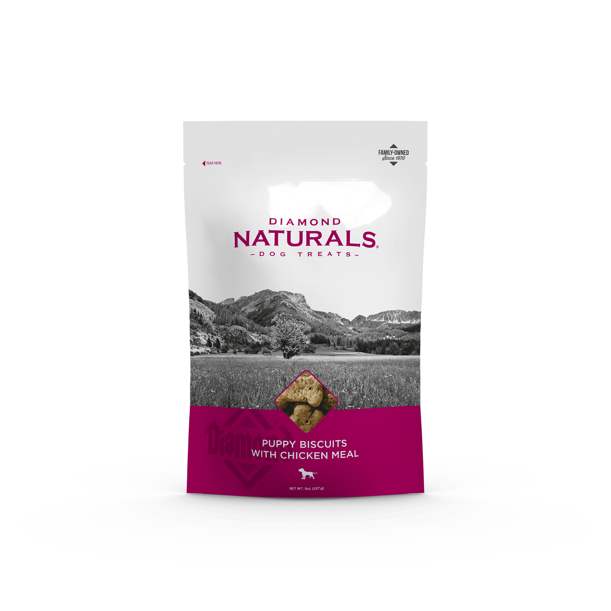 Puppy Biscuits with Chicken Meal bag front | Diamond Naturals