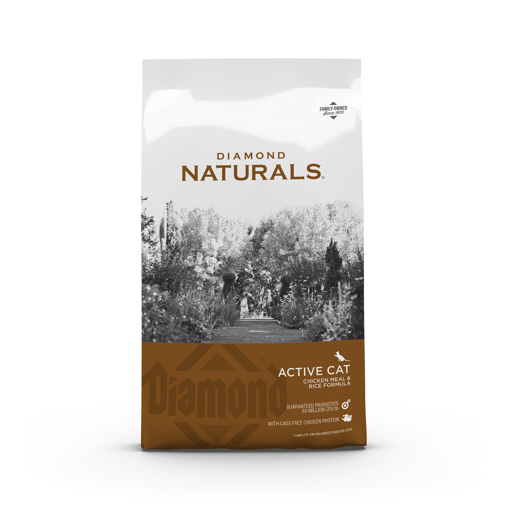 active cat front of bag | Diamond Naturals