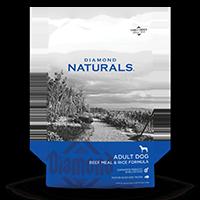 Diamond Naturals Adult Dog Beef Meal & Rice Formula front of bag | Diamond Pet Foods