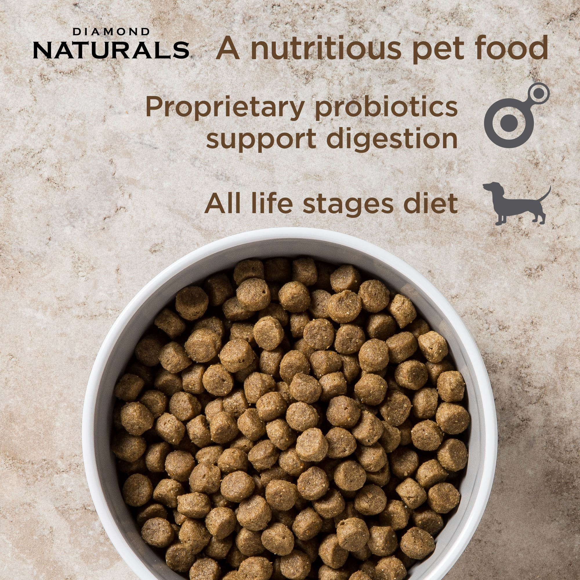 Diamond Naturals All Life Stages Chicken kibble in a bowl | Diamond Pet Foods