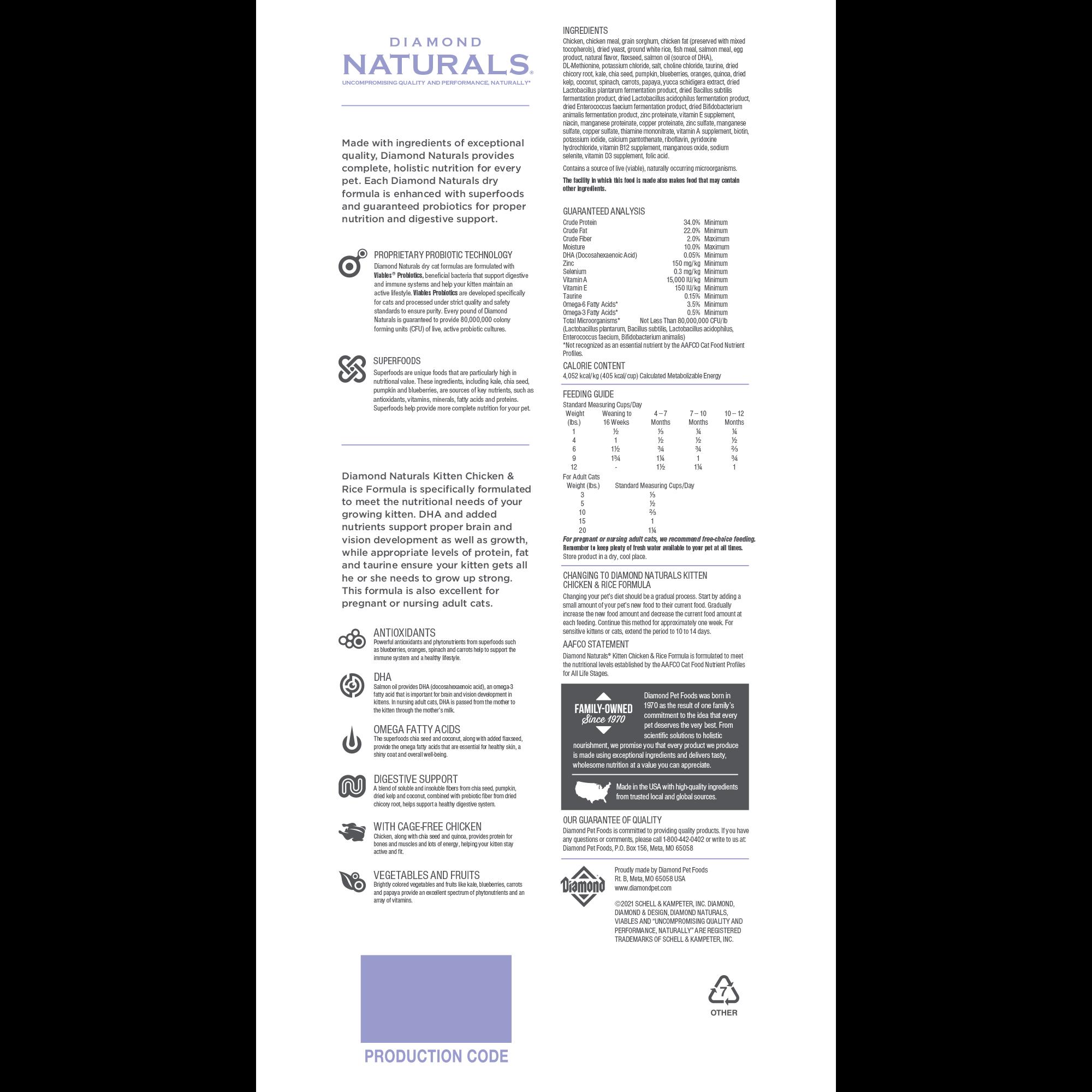 Diamond Naturals Kitten Chicken & Rice Formula bag back | Diamond Pet Foods