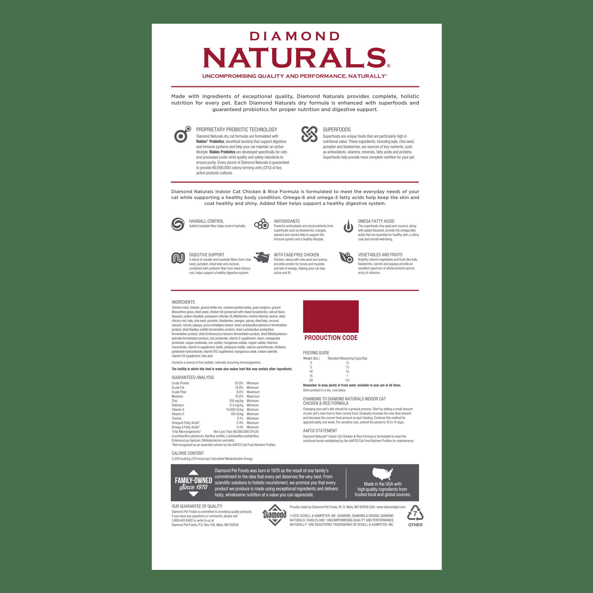 Diamond Naturals Indoor Cat Chicken & Rice Formula bag back | Diamond Pet Foods