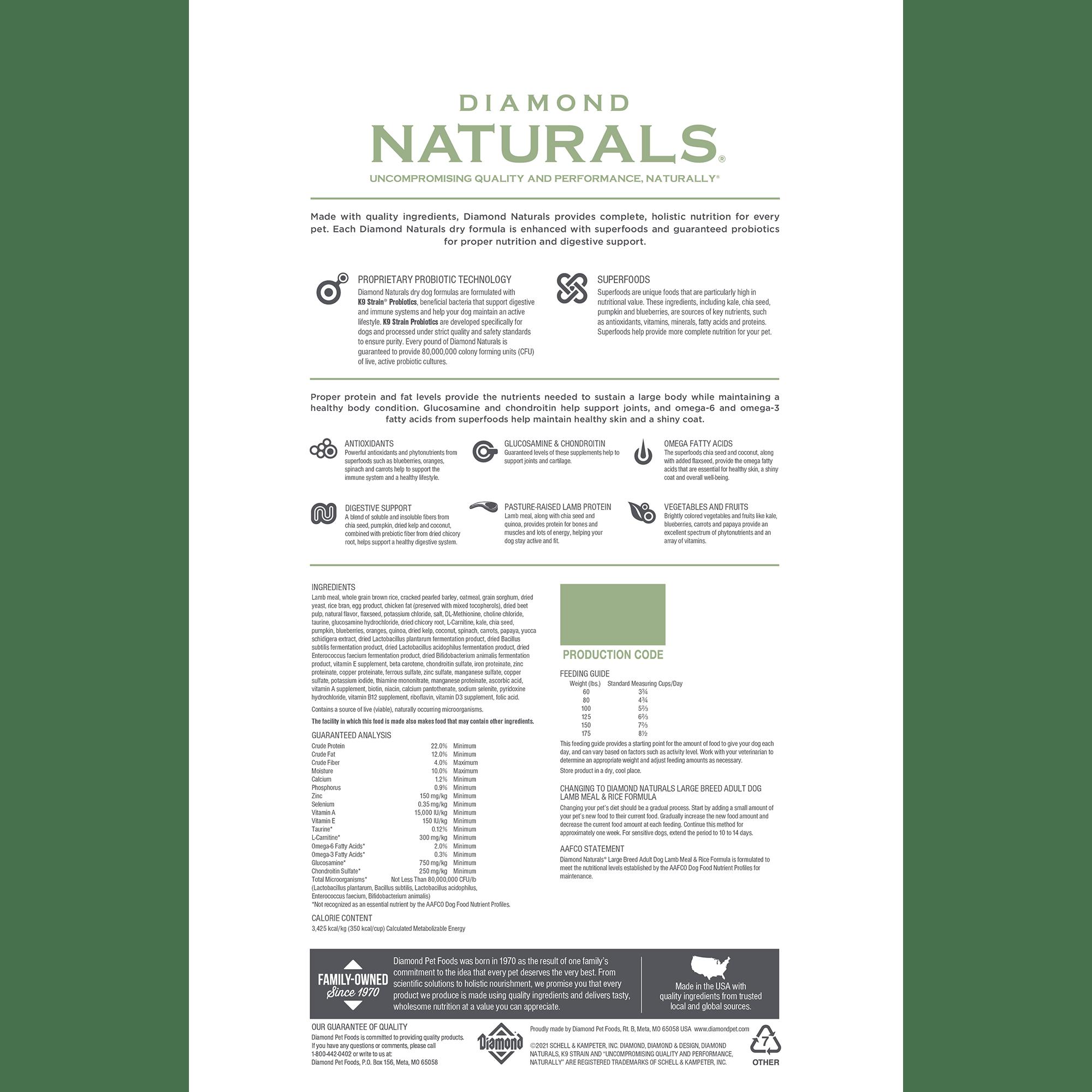 Diamond Naturals Large Breed Adult Dog Lamb Meal & Rice bag back   Diamond Pet Foods