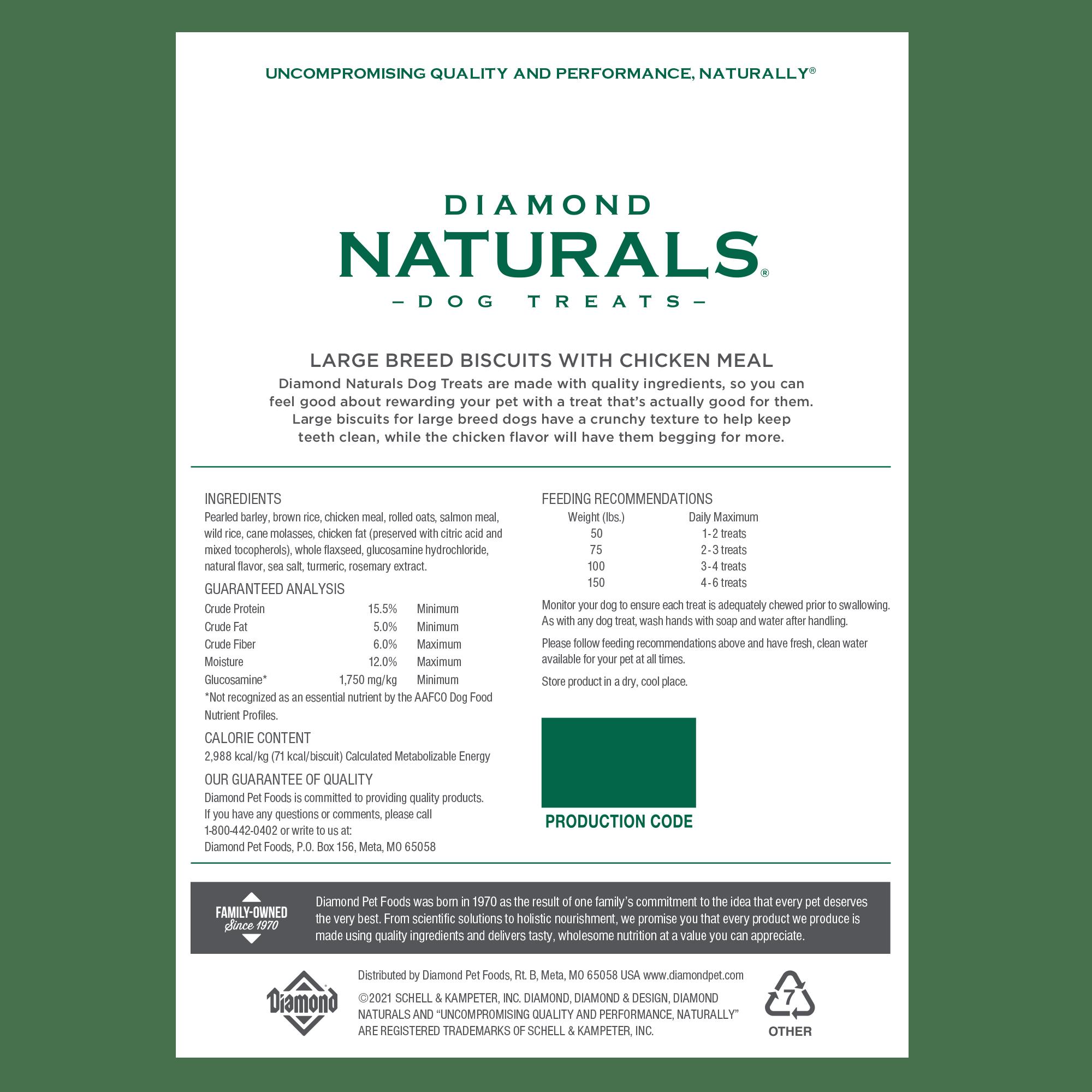 Diamond Naturals Large Breed Treats back of bag | Diamond Pet Foods