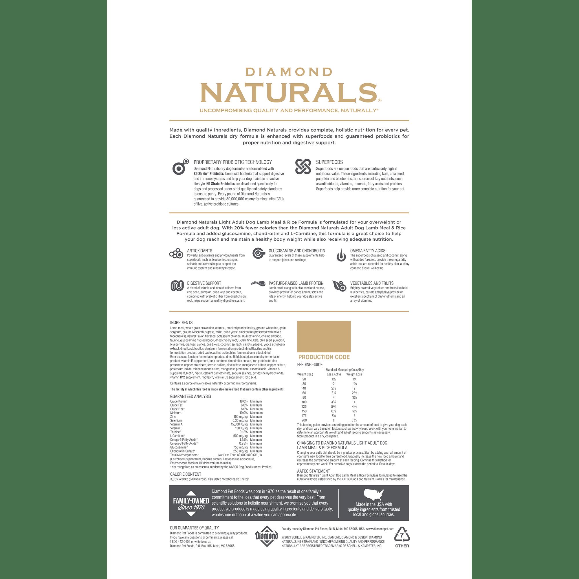 Diamond Naturals Light Adult Dog Lamb Meal & Rice bag back | Diamond Pet Foods