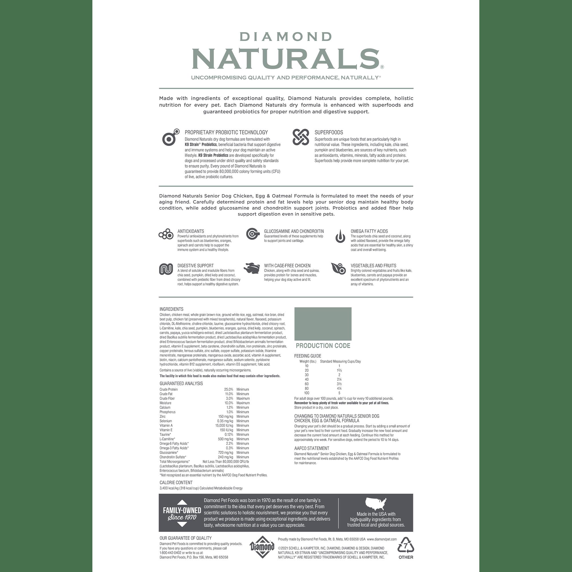 Diamond Naturals Senior Dog Chicken, Egg & Oatmeal back of bag   Diamond Pet Foods