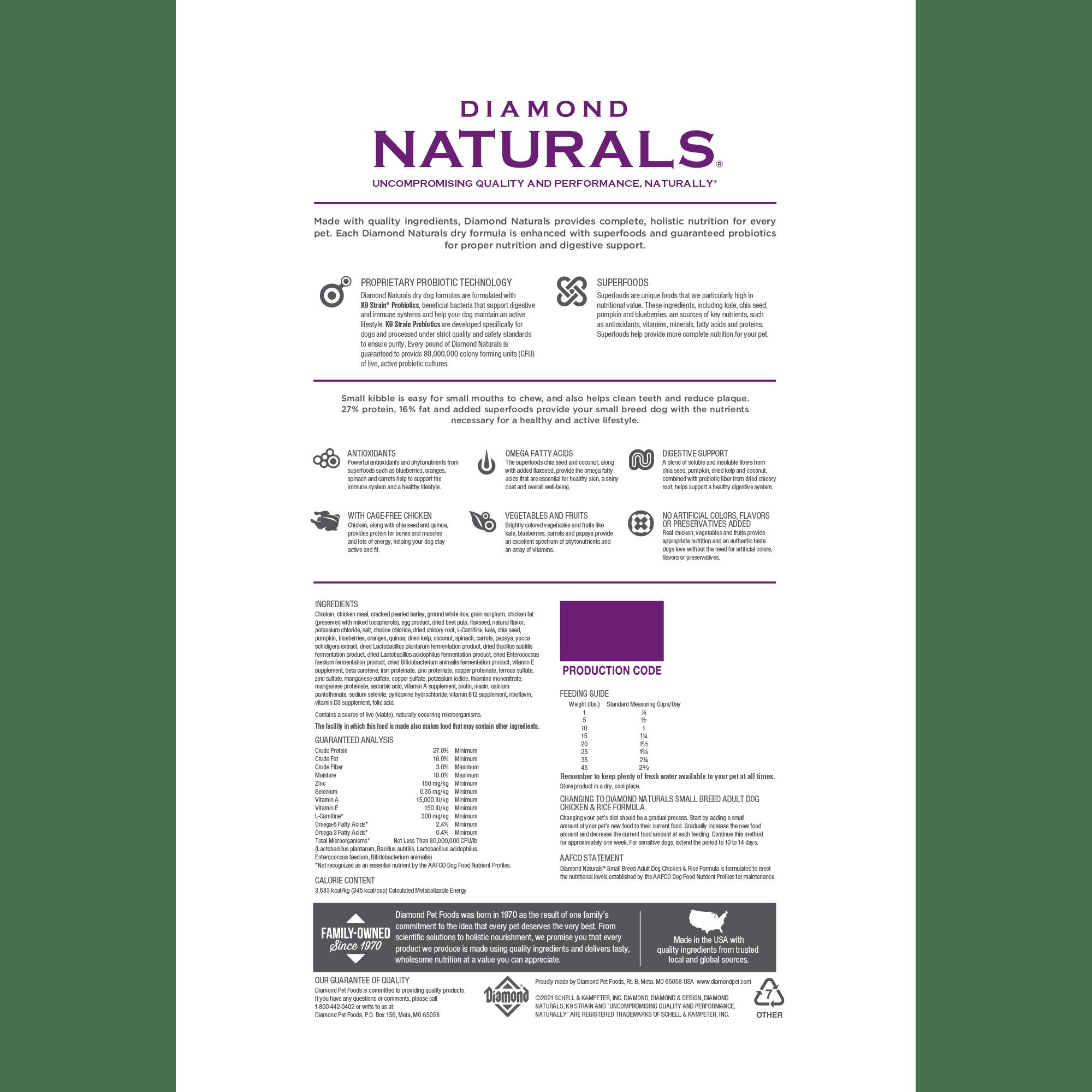 Diamond Naturals Small Breed Adult Dog Chicken & Rice bag back | Diamond Pet Foods
