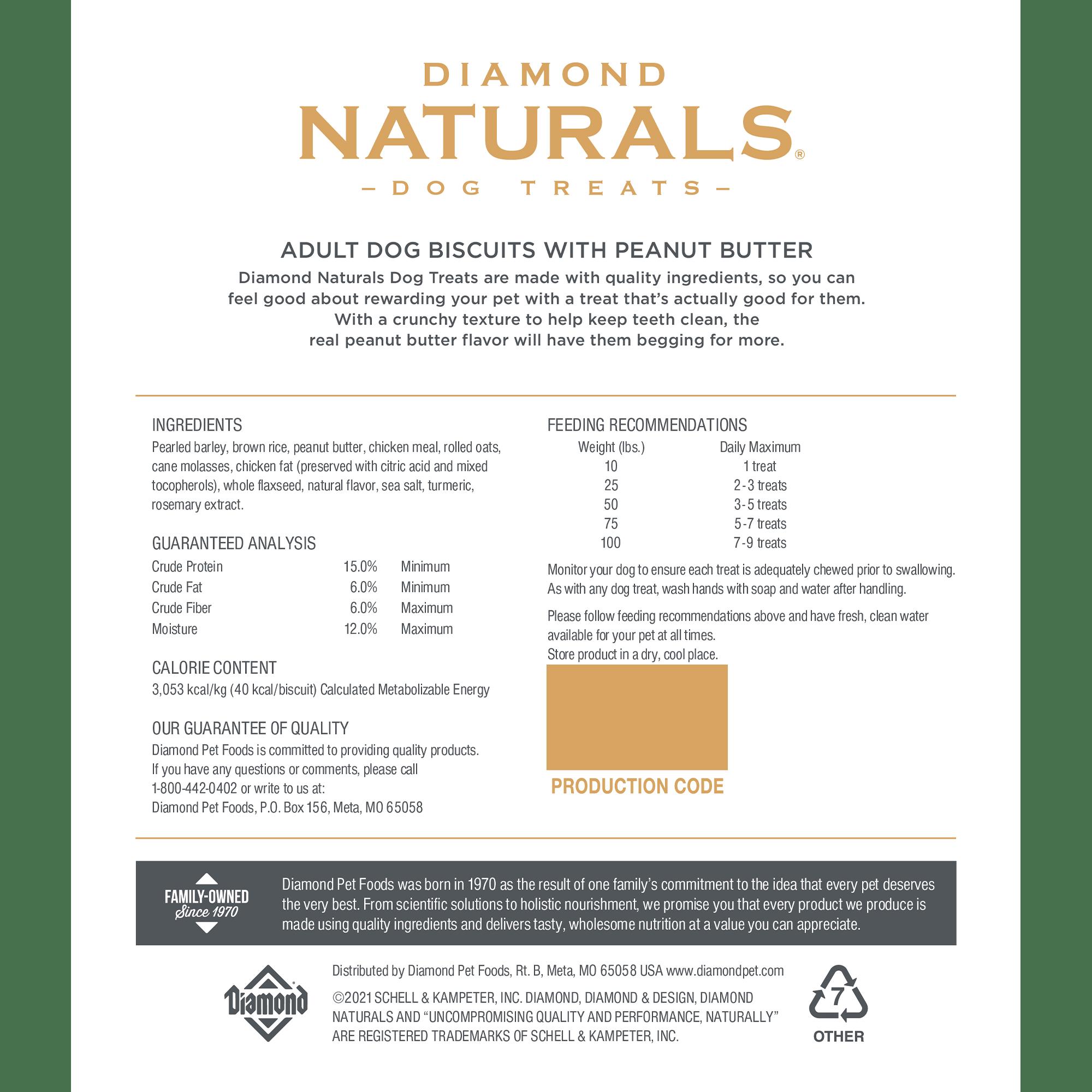 Diamond Naturals Treats Peanut Butter back of bag | Diamond Pet Foods