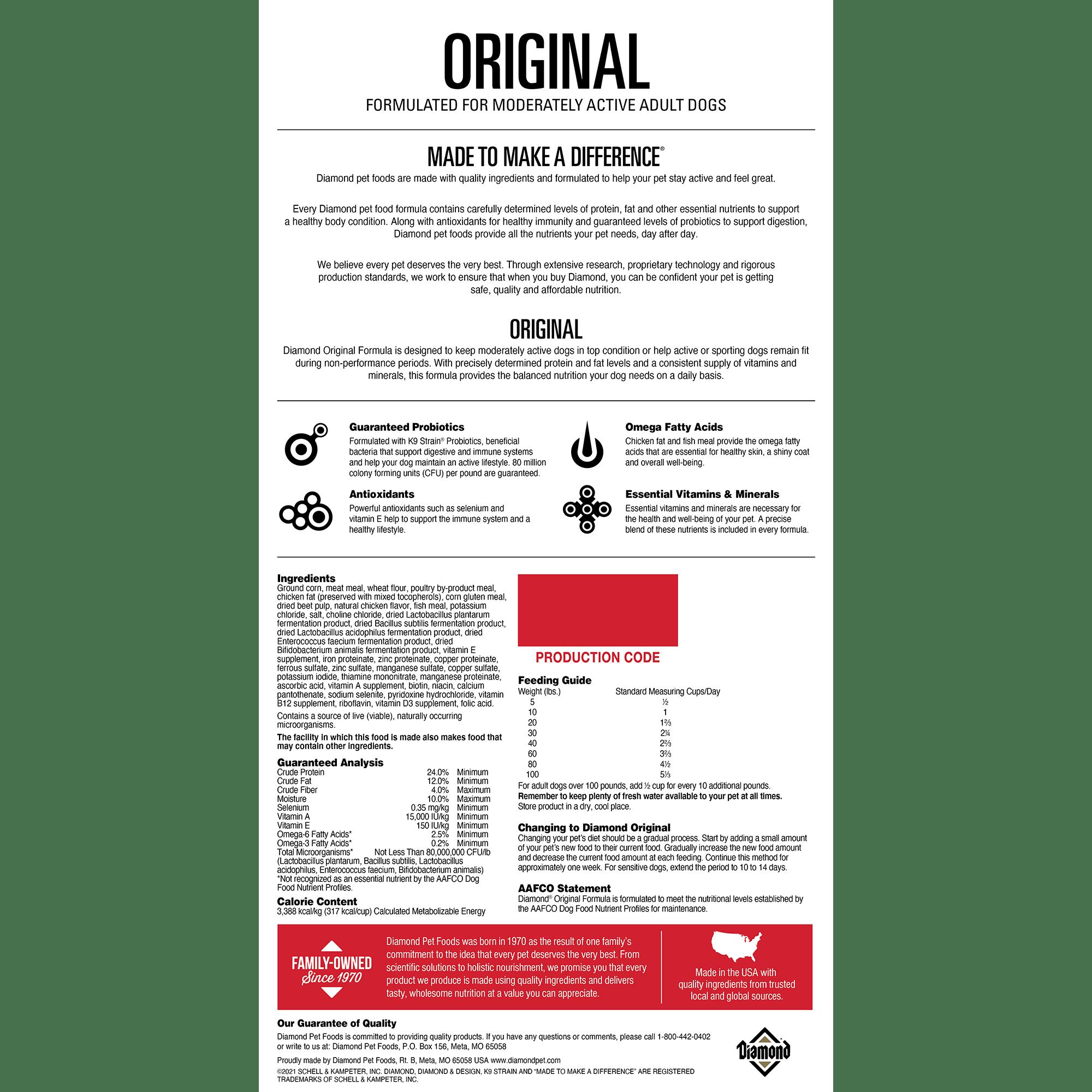 Diamond Original back of bag | Diamond Pet Foods