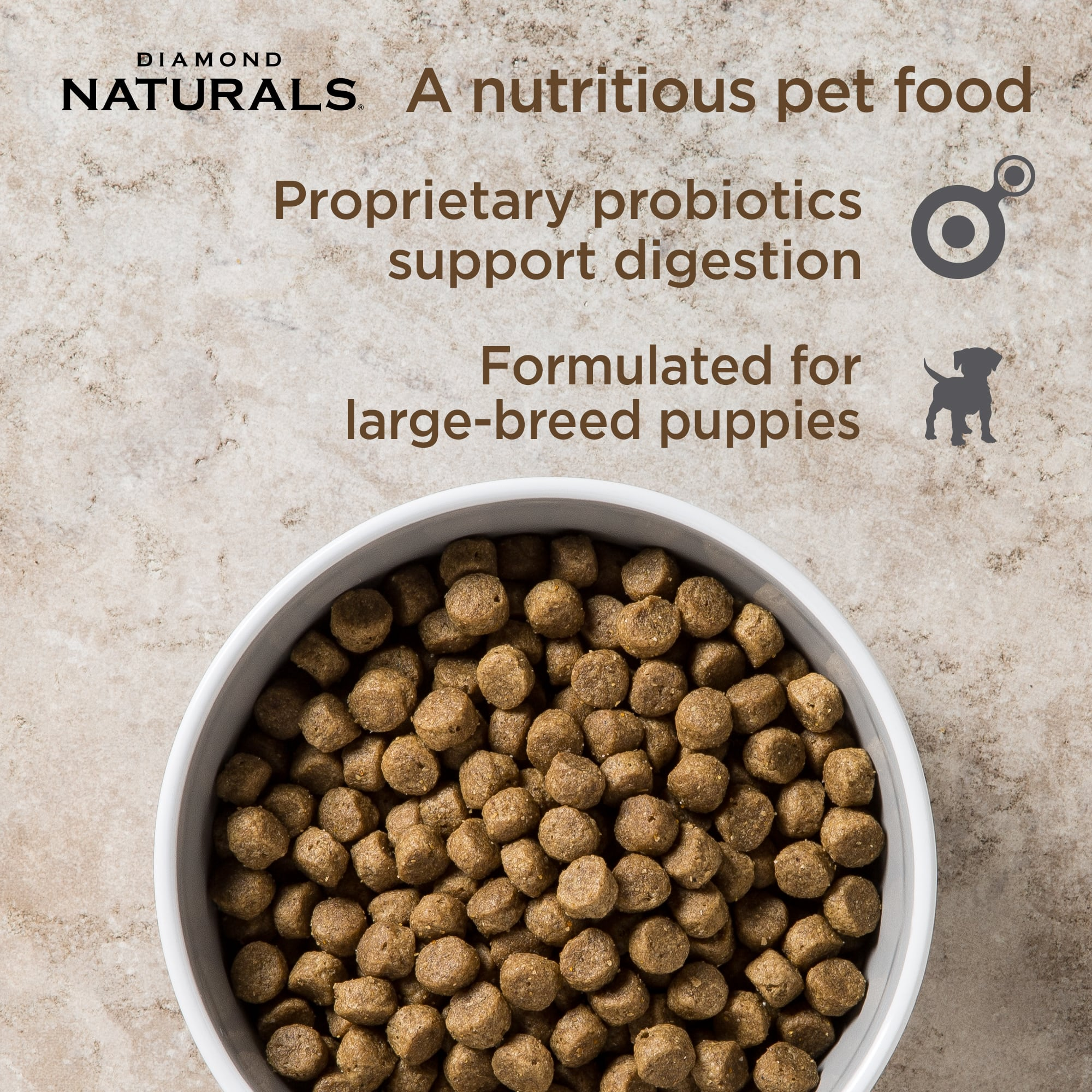 Diamond Naturals Large Breed Puppy kibble in a bowl | Diamond Pet Foods