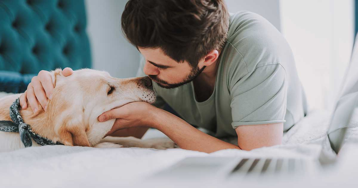 Young Man Kissing His Dog | Diamond Pet Foods