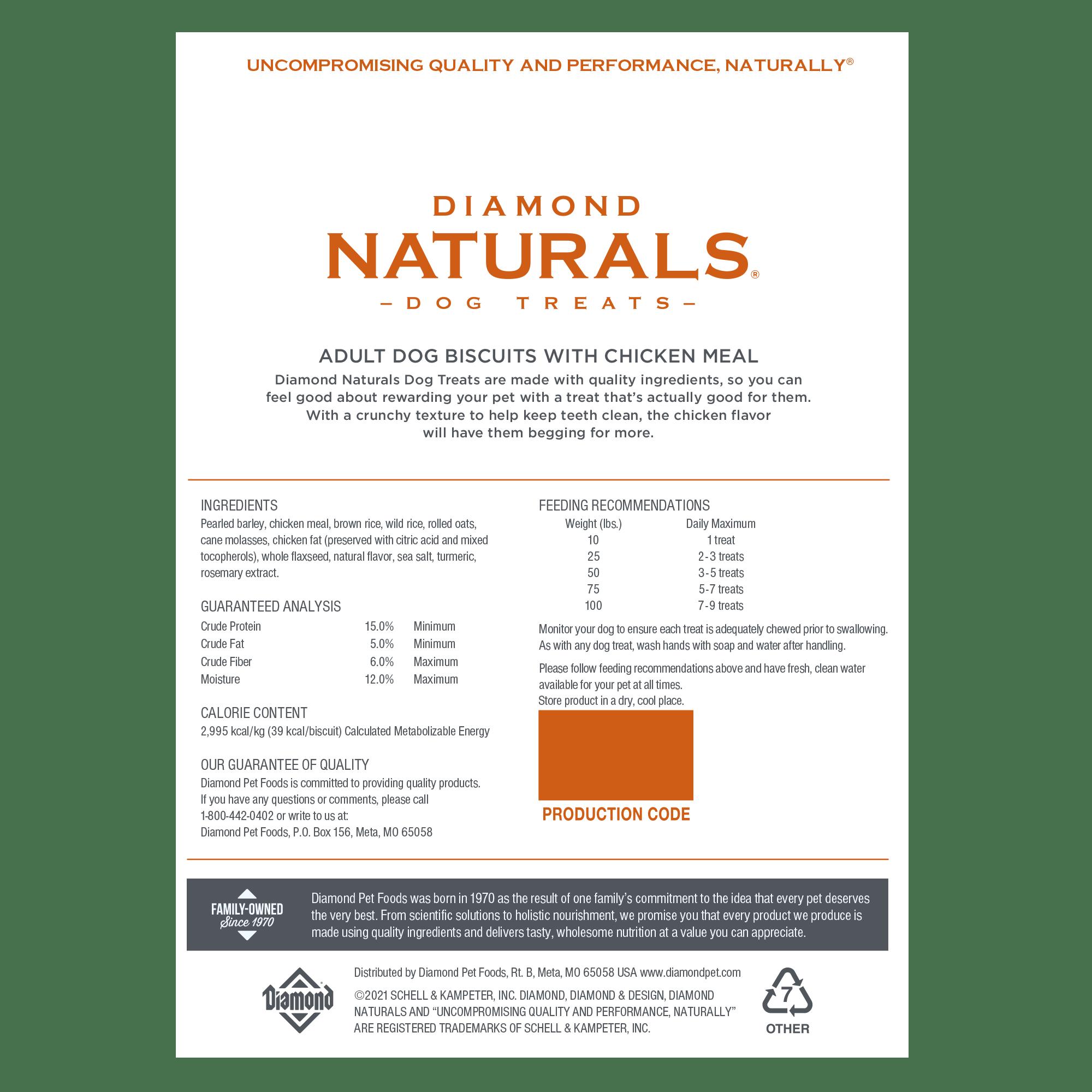 Diamond Naturals Chicken Treats bag back | Diamond Pet Foods