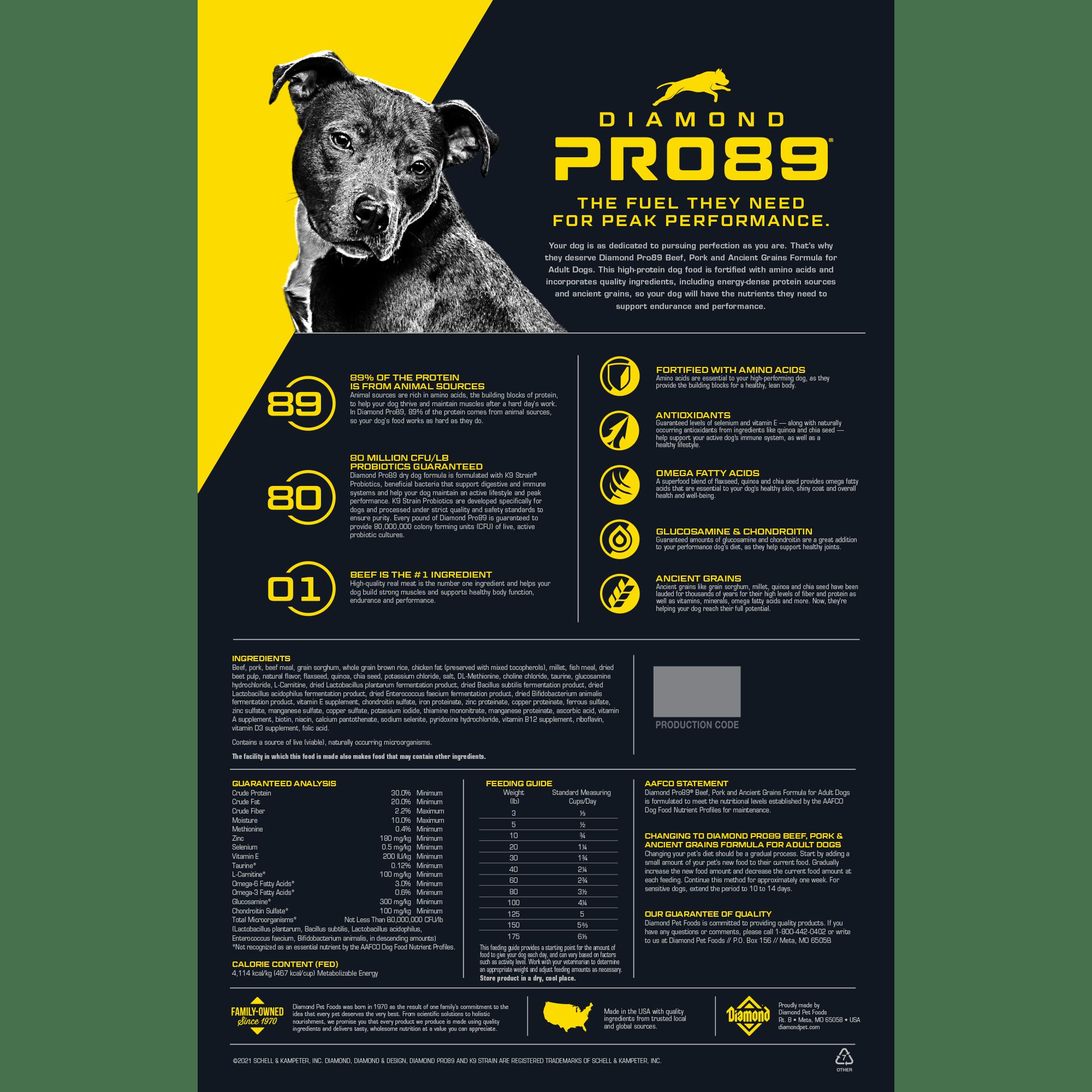 Diamond Pro89 bag back | Diamond Pet Foods