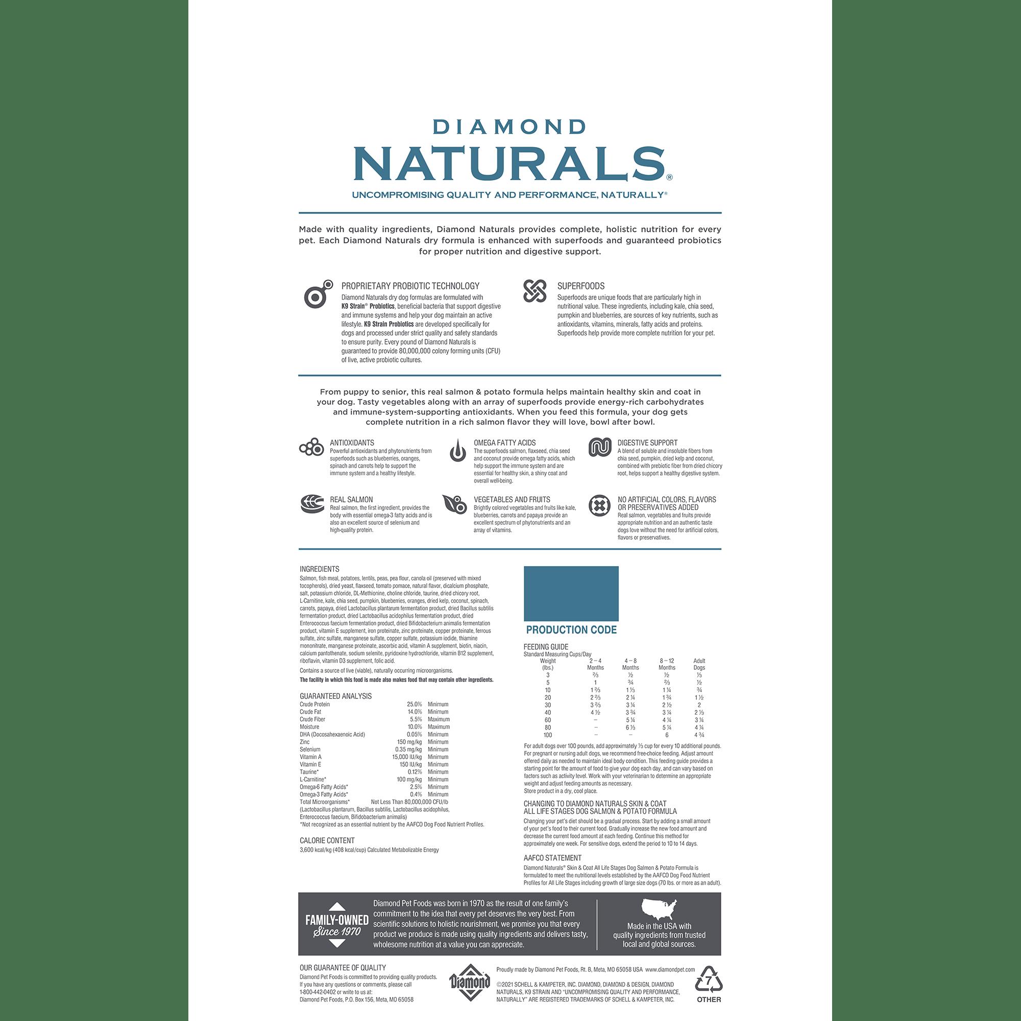 Diamond Naturals Skin & Coat All Life Stages Salmon & Potato Dog Food Bag Back | Diamond Pet Foods