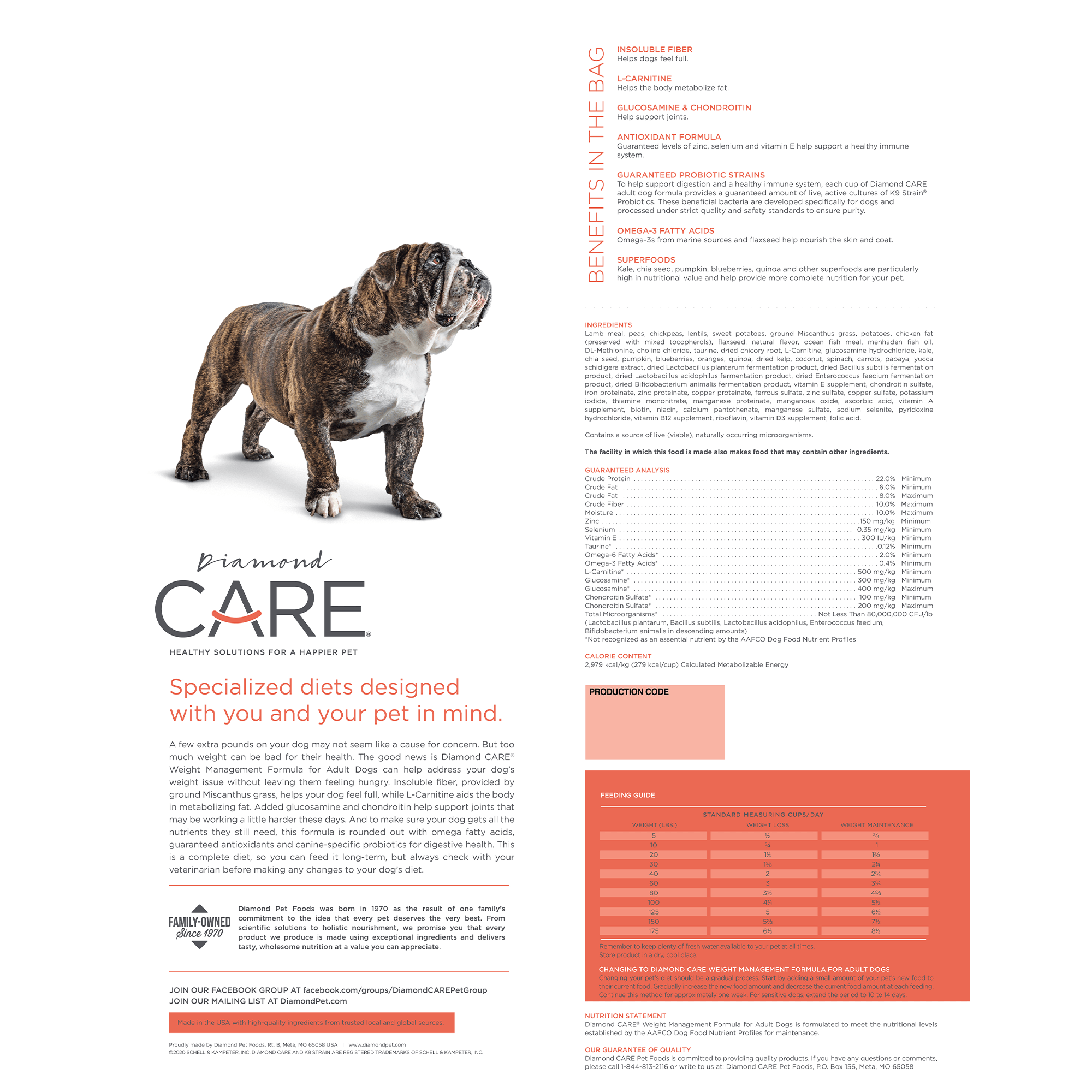 Diamond CARE Weight Management Formula for Adult Dogs Bag Back | Diamond Pet Foods