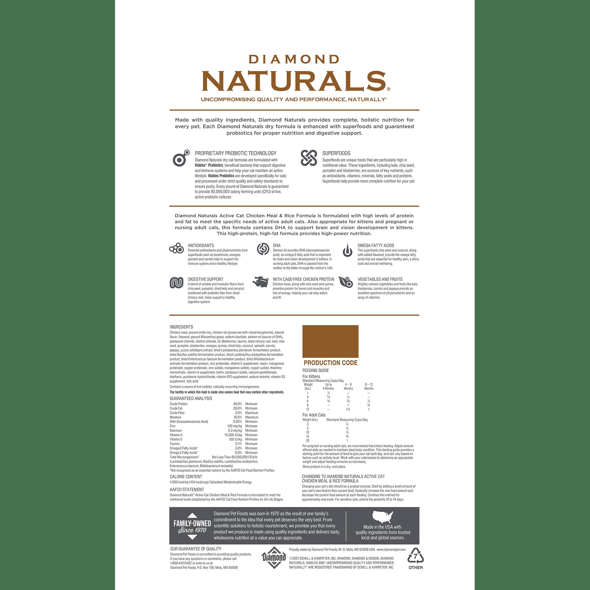 Diamond Naturals Active Cat Chicken Meal & Rice Formula | Diamond Pet Foods