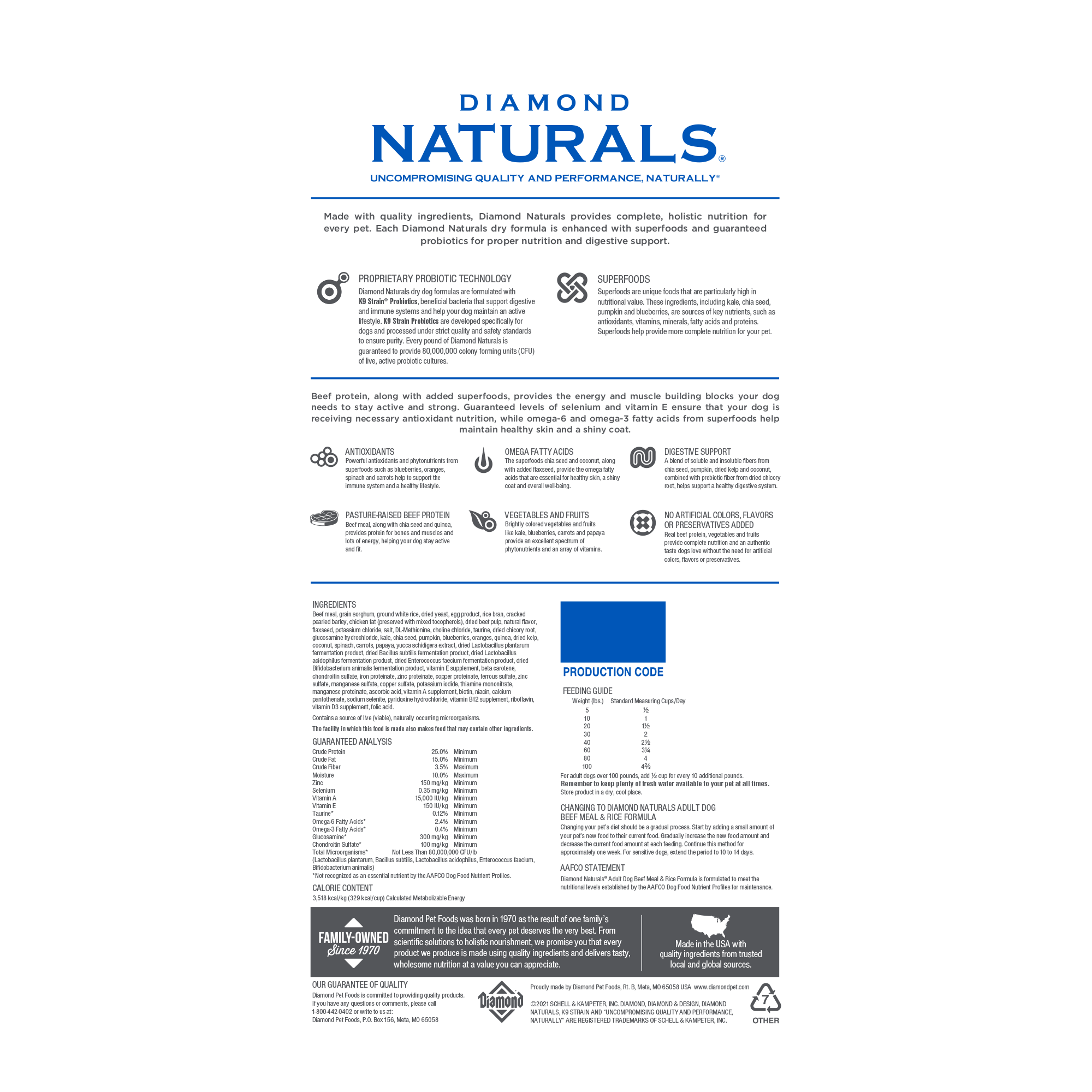 Diamond Naturals Beef & Meal bag back