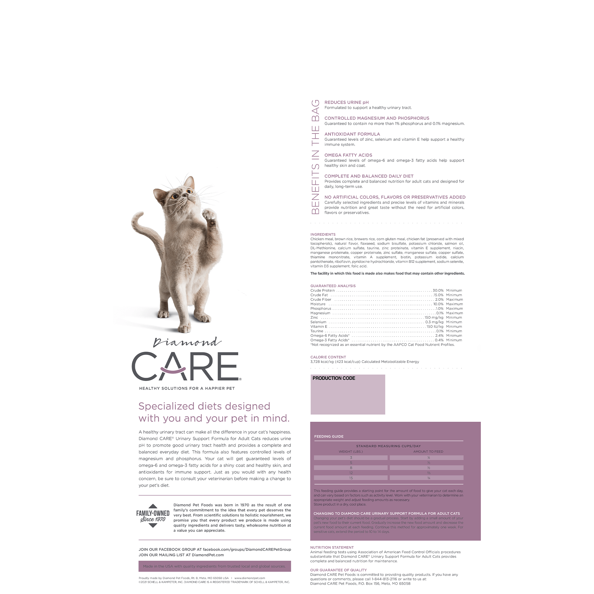 Urinary Support Cat bag back | Diamond CARE