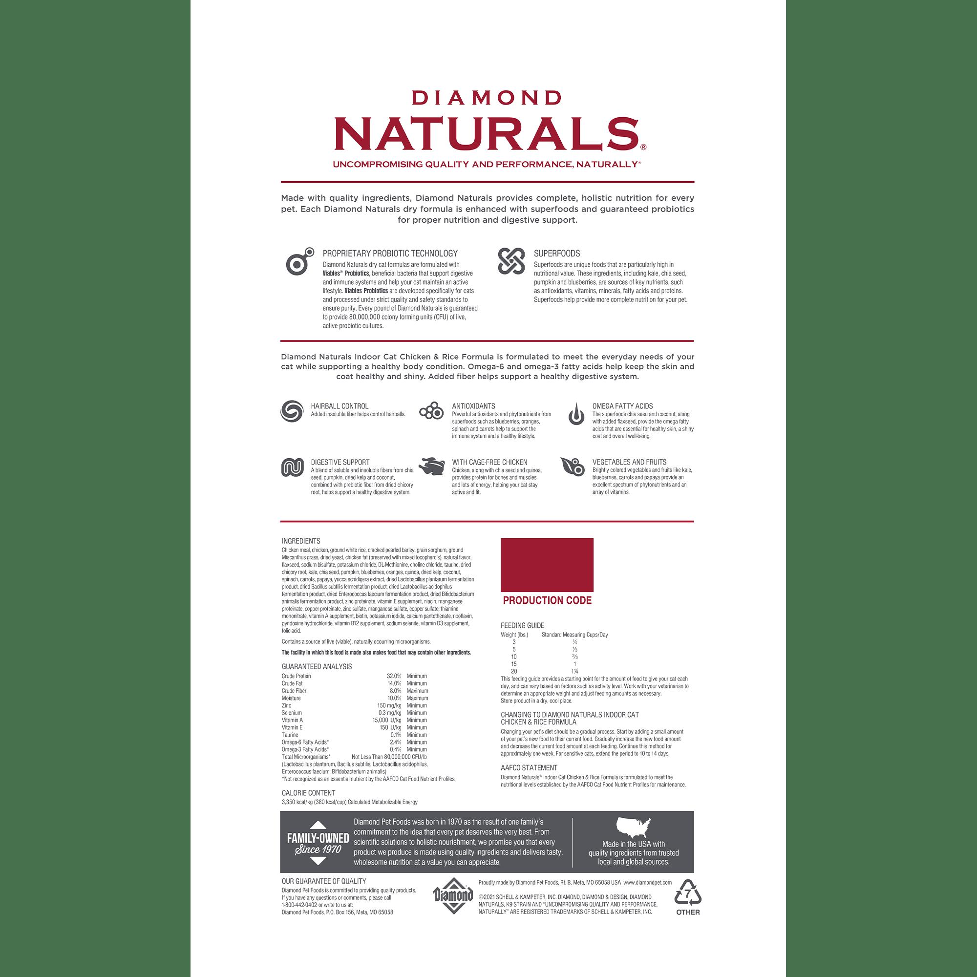 Diamond Naturals Indoor Cat Chicken & Rice Formula bag back   Diamond Pet Foods